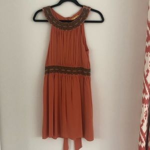 Alice + Olivia Burnt Orange with Sequin Dress